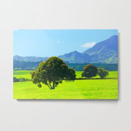 green tree in the green field with green mountain and blue sky background Metal Print