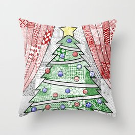 Coloured Christmas Tree Throw Pillow