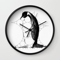 penguin Wall Clocks featuring Penguin by thinschi