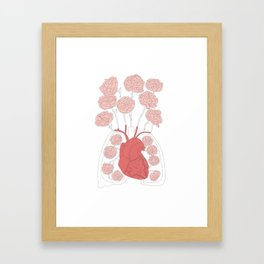 Lungs and heart floral anatomy Framed Art Print