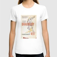 book cover T-shirts featuring Fahrenheit 451 Book Cover by proudcow
