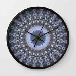 Digital mandala in grey and blue tones Wall Clock