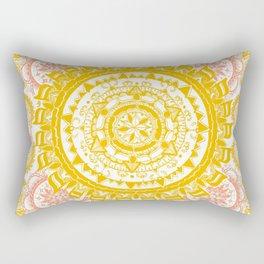 Citrus and Salmon Colored Mandala Textile Rectangular Pillow