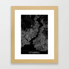 Istanbul Black Map Framed Art Print