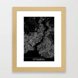 Istanbul Black Map Framed Art Print