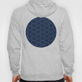Japanese Blue Wave Seigaiha Indigo Super Moon Pattern Hoody