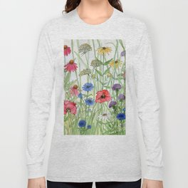 Watercolor of Garden Flower Medley Long Sleeve T-shirt