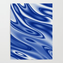 Blue waves pattern Poster