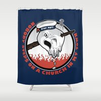 ghostbusters Shower Curtains featuring Mother Pus Bucket! by Mike Handy Art