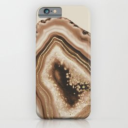 Soft Brown Agate Gold Foil Glam #1 #gem #decor #art #society6 iPhone Case