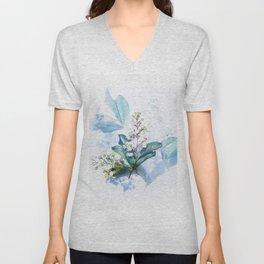 Light Blue Floral Unisex V-Neck