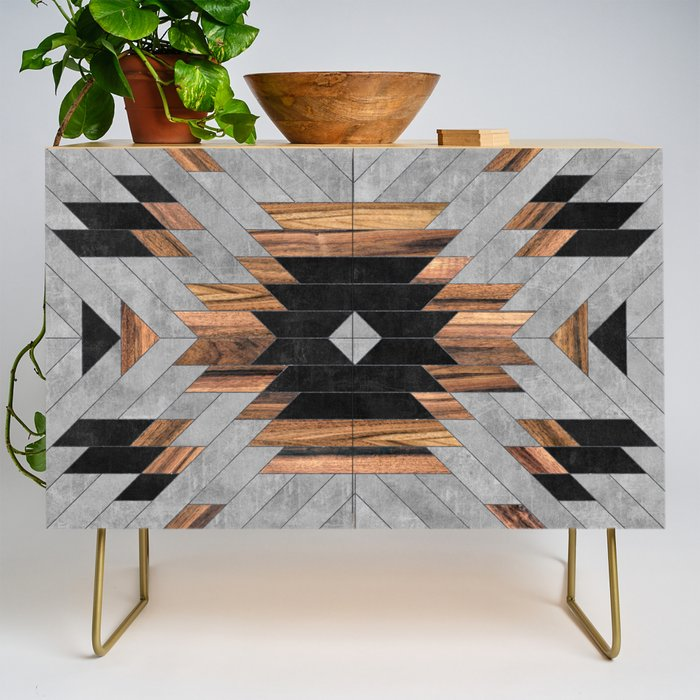 Urban Tribal Pattern No.6 - Aztec - Concrete and Wood Credenza