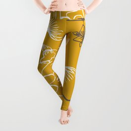 Line Art, Yellow and Gray, Leaves and Floral Prints Leggings