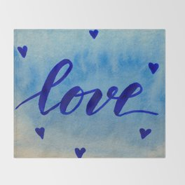 Valentine's Day Watercolor Love - blue Throw Blanket