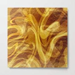 Abstract Marbled Gold Metal Print