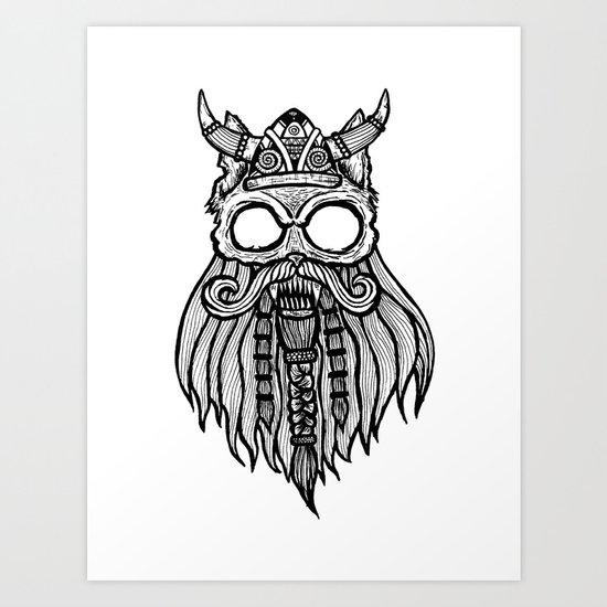 Viking Cat Art Print