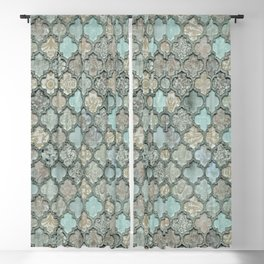Old Moroccan Tiles Pattern Teal Beige Distressed Style Blackout Curtain