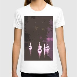 Beautiful reflection in the lake surface - shades of light pink to dark T-shirt