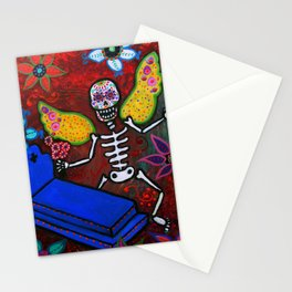 MEXICAN WINGED SKELLY DIA DE LOS MUERTOS PAINTING Stationery Cards