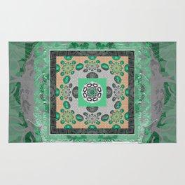 Soulful Fractal Moss Green Boho Mandala Rug