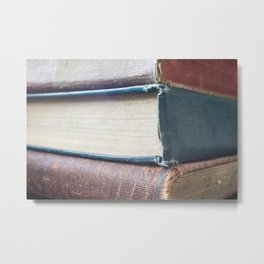 Vintage School Books, Close-up, Photo, Color Metal Print