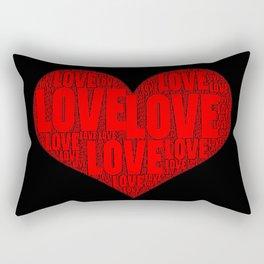 Heart shape with text love inside Rectangular Pillow