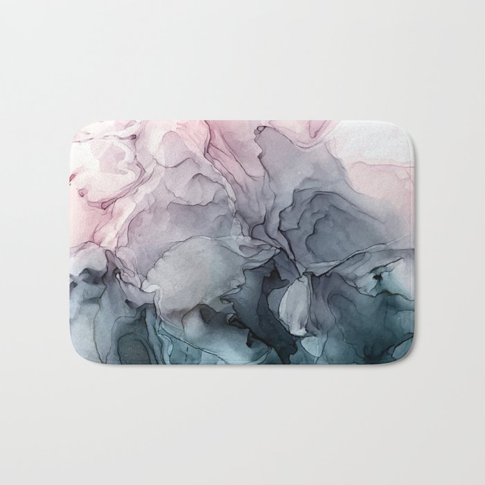 Blush and Paynes Gray Flowing Abstract Reflect Badematte