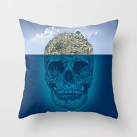 island Throw Pillows featuring Skull Island by Rachel Caldwell