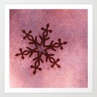 snowflake Art Prints featuring snowflake by Claudia Drossert