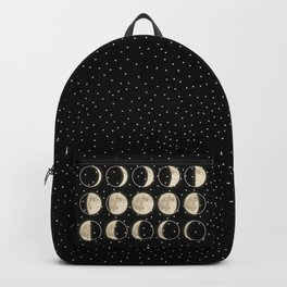 shiny moon phases on black / with stars Backpack