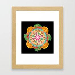 Summer Mandala on black Framed Art Print