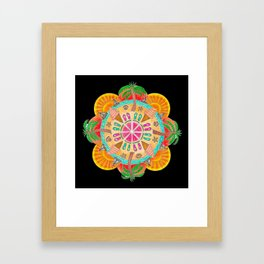 Summer Mandala on black Framed Art Print