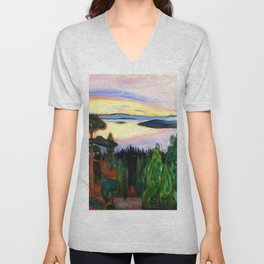 View from Nordstrand, Sunset lake and forest alpine Oslo, Norway landscape painting by Edward Munch Unisex V-Neck