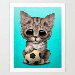 Cute Kitten With Football Soccer Ball Art Print