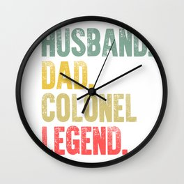 Funny Men Vintage T Shirt Husband Dad Colonel Legend Retro Wall Clock