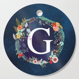 Personalized Monogram Initial Letter G Floral Wreath Artwork Cutting Board