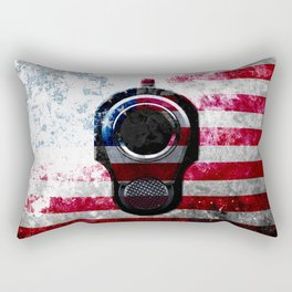 M1911 Colt 45 and American Flag on Distressed Metal Rectangular Pillow