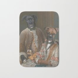 Couple - two boxer dogs, ginger and black. Bath Mat