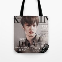 snk Tote Bags featuring SnK Magazine: Eren by emametlo