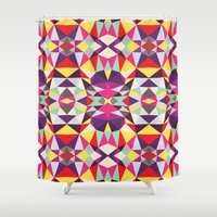 disco Shower Curtains featuring Disco Tribal by Beth Thompson