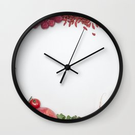 A variety of red fruits and vegetables Wall Clock