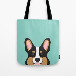 Tricolored Corgi cute corgi dog portrait custom dog art pet friendly dog head cell case Tote Bag