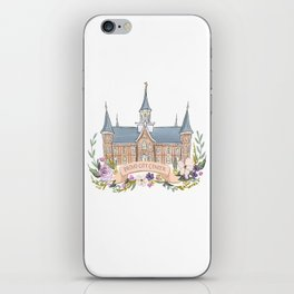 Provo City Center LDS watercolor Temple with flower wreath  iPhone Skin