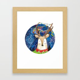 Silent Night Deer Framed Art Print