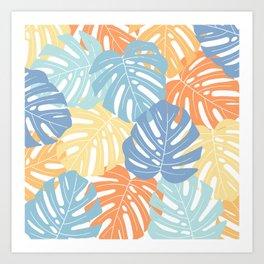 Monstera leaves Colorful Jungle leaves Palm leaves Tropical art Art Print