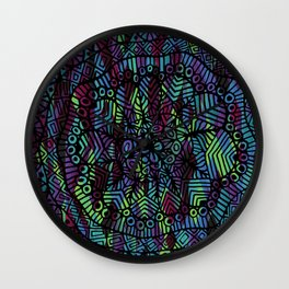 Purple and Green Doodle 14 Wall Clock