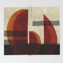 """Abstract Ships at Sunset"" Throw Blanket"