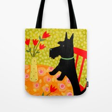 Scottie Dog and Tulips Tote Bag