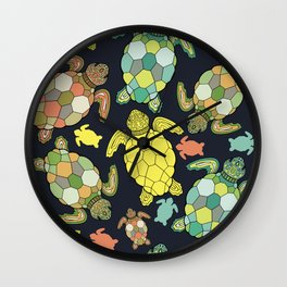 Colorful happy turtles. Wall Clock