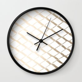 Luxe Gold Diamond Lattice Pattern on White Wall Clock